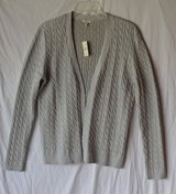 NWT-TALBOTS Champagne Cable Knit Open Front Metallic Cardigan Sweater Top size M in Batavia, Illinois